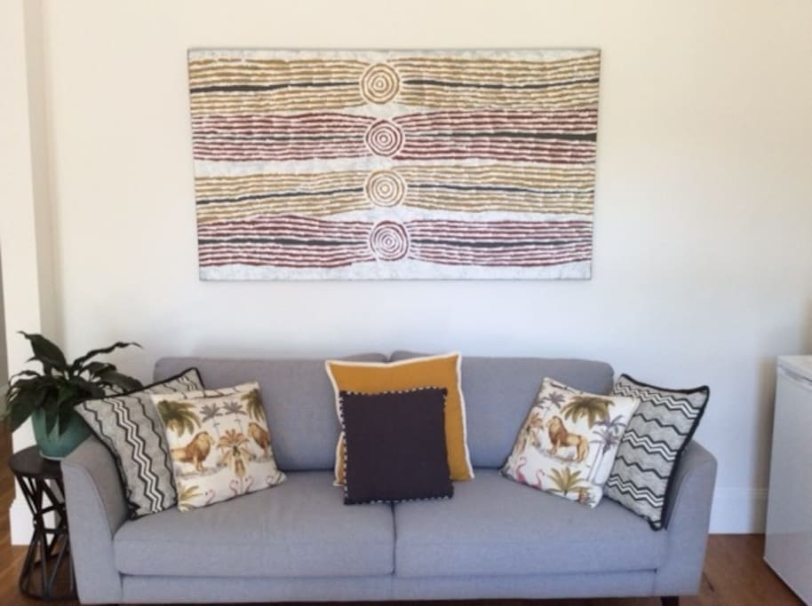 Indigenous art adorning the lounge room wall