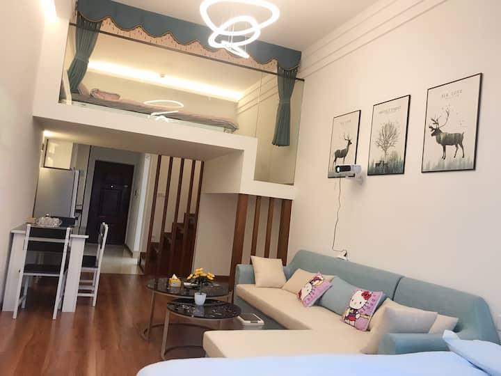 近北站 中山路 园博苑 loft 带投影温馨两居室