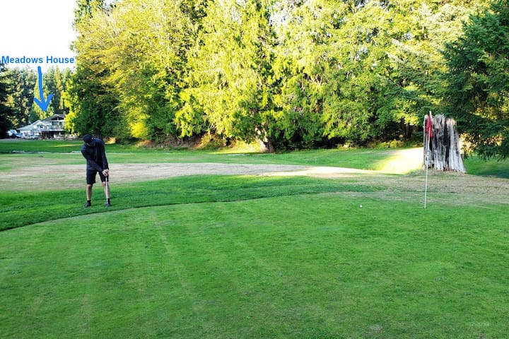 Guests can play free golf right across the street from the Meadows House.