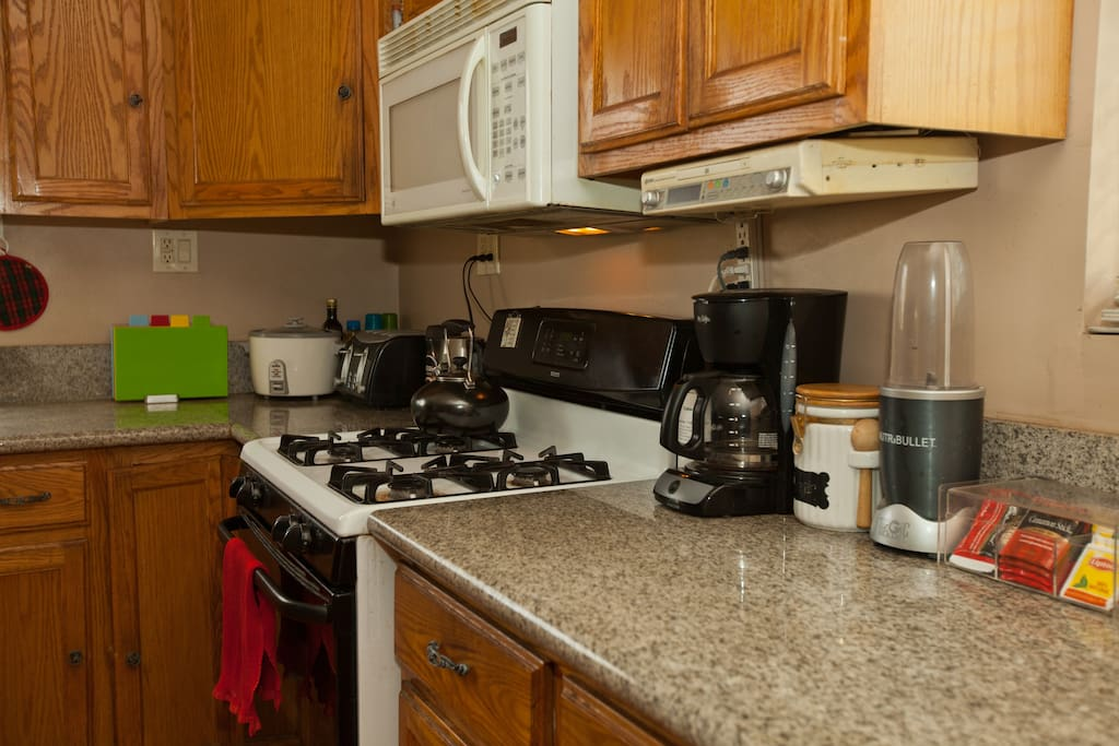Ease right in and start cooking, just like you were at home. We have a rice maker, toaster, electric kettle, coffee maker, coffee grinder and a NutraBullet.