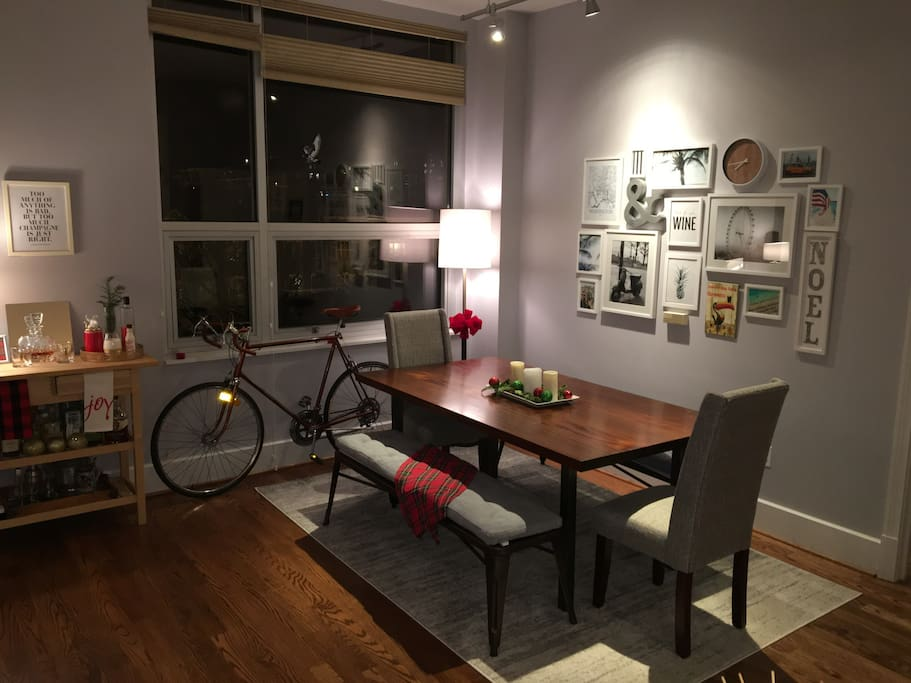 Dining room table comfortably seats up to 8