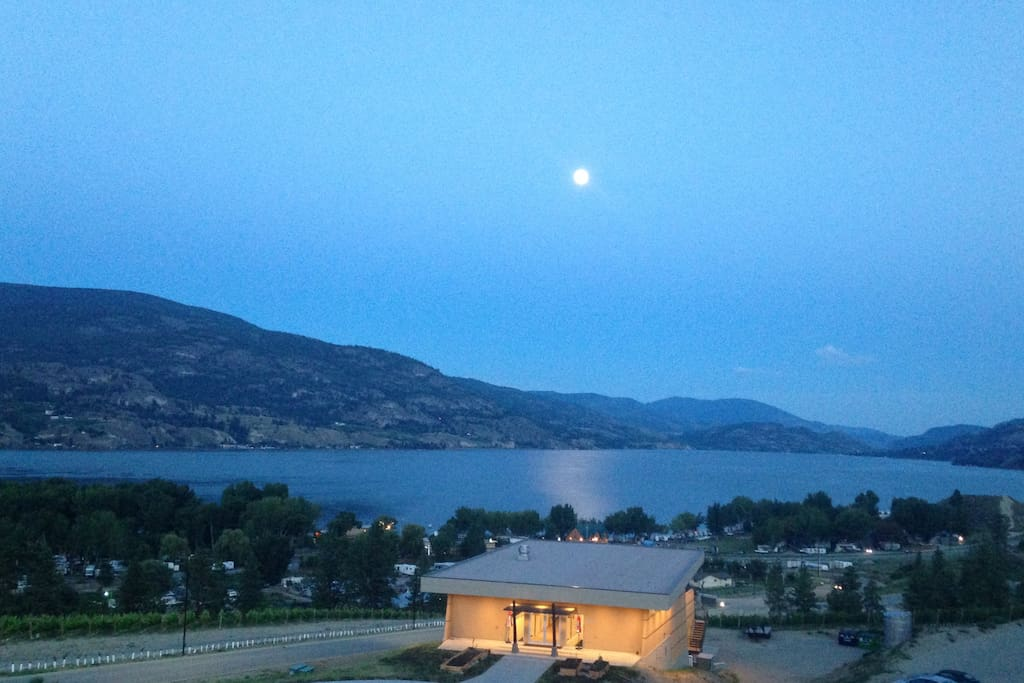 Moonlight view of the Play Winery from the patio