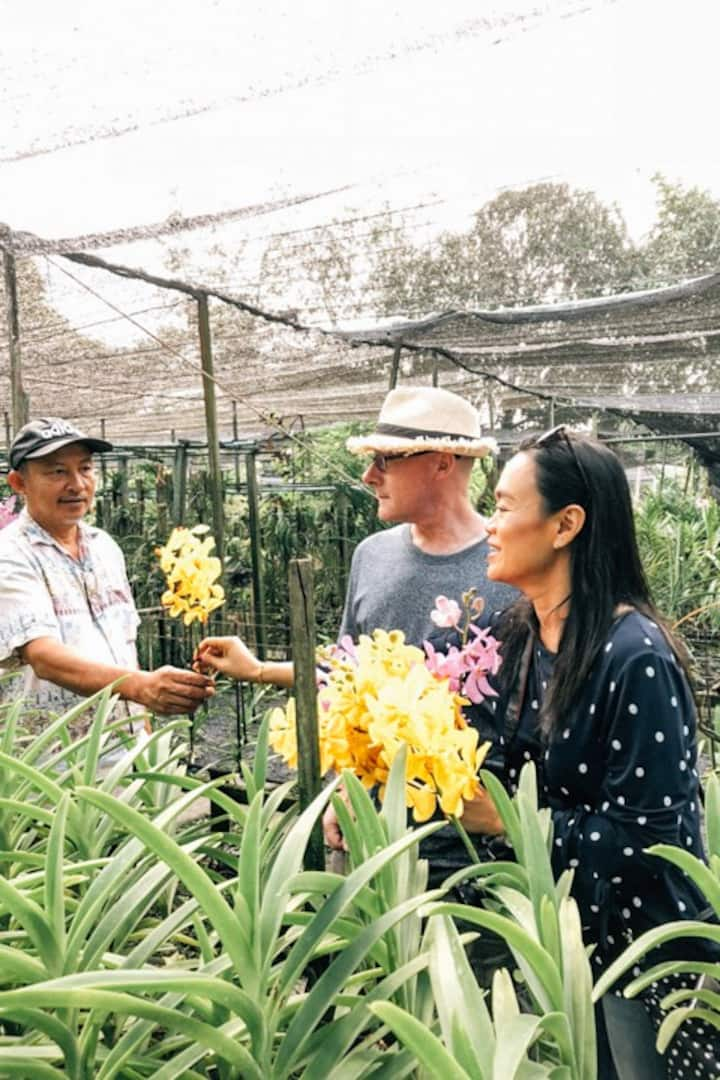 Friendly welcome from Orchid farm owner
