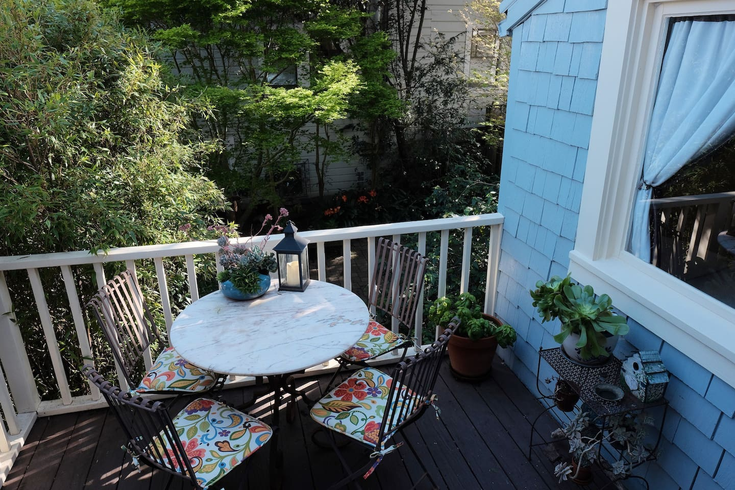 You can have  breakfast on our quiet, often sunny, deck overlooking our garden.