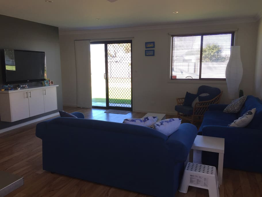 Spacious lounge area, with fold out couches for extra bedding
