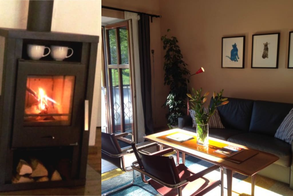 Sunny and airy in summer (right); cozy wood stove fire in winter (left)
