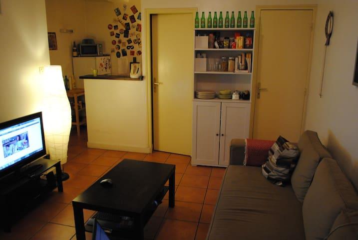 Petite vue du salon et coin cuisine