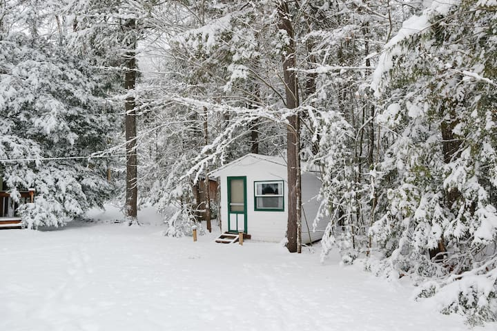 """A snowy look at the """"Wooded Bunkie"""" / Bedroom #5 which houses a set of bunkbeds and remains very cool and shaded in the summertime."""