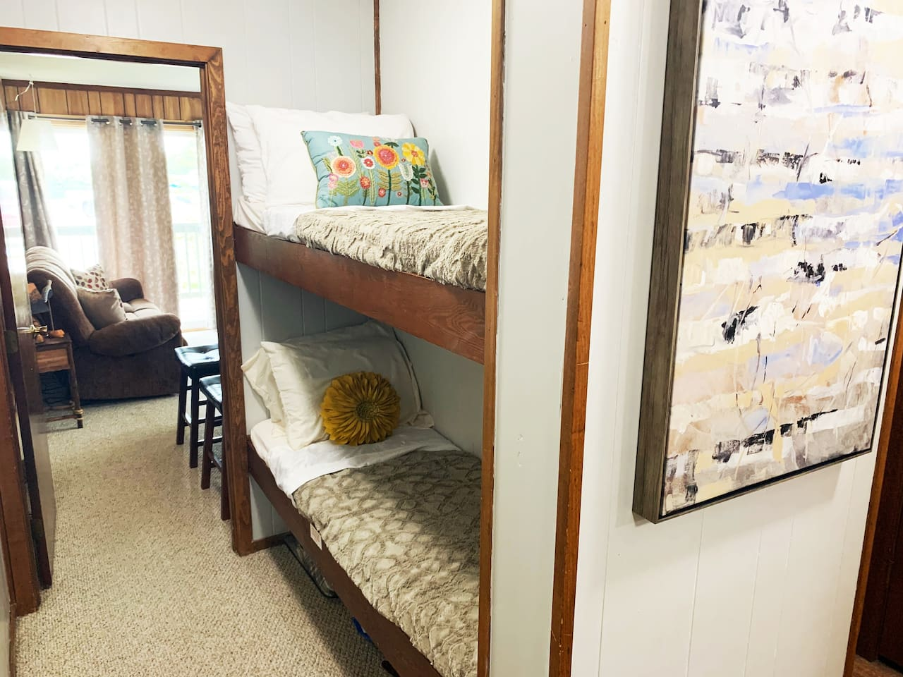 Cozy bunk beds for your kids to nestle in at night!  *(Children 60lbs and under only)
