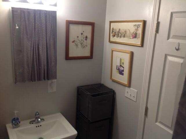 Bathroom from shower/bath.