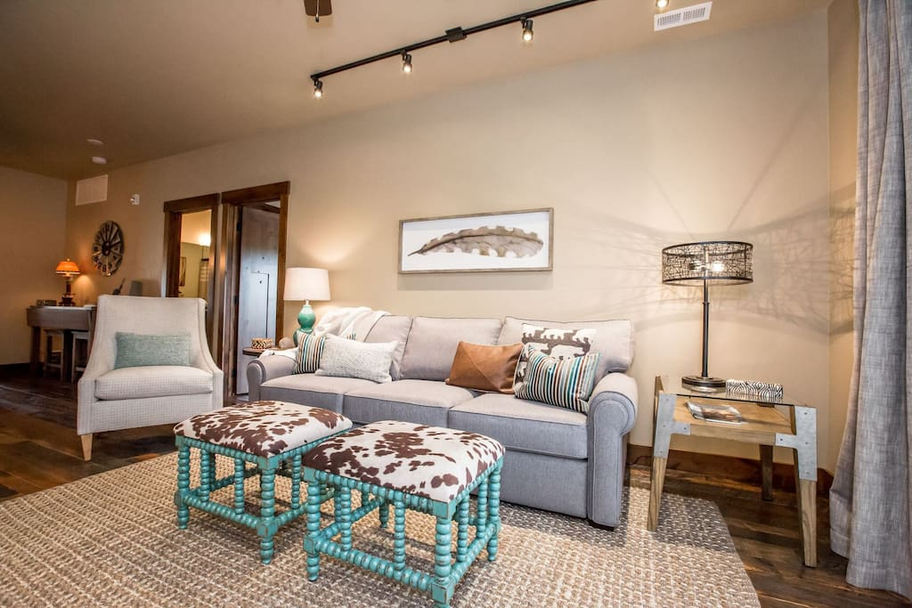 Cozy living space with seating for featuring modern style decor.
