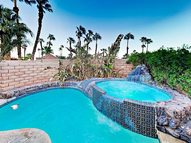 The backyard pool and spa offer your very own private oasis.
