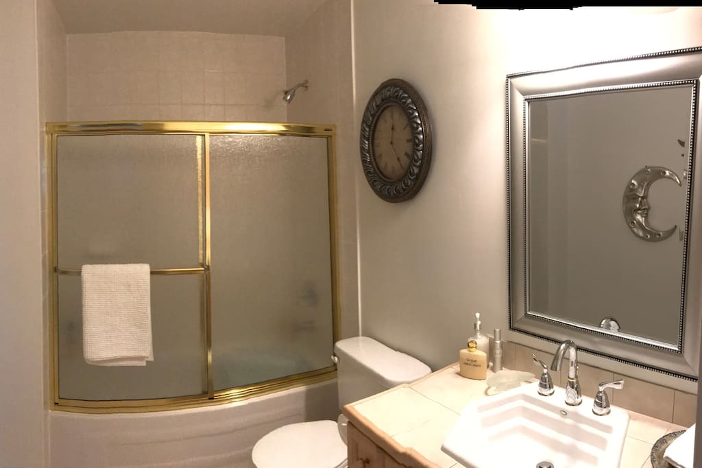 Shared bathroom with just one other guest suite.