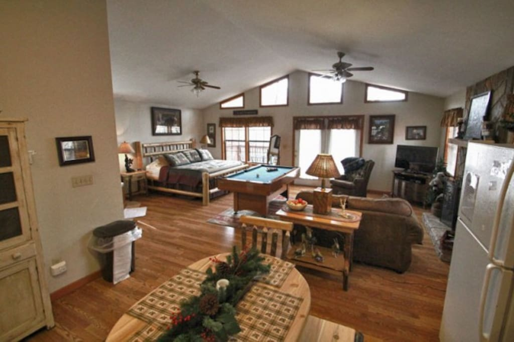 Enjoy a pool table and entertainment center which includes a 43 in HDTV and Xbox 360system. (Bring games you enjoy.)  WiFi is waiting on you!