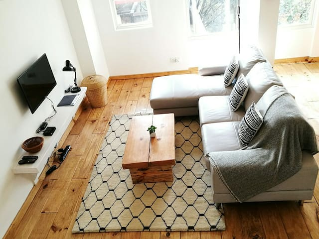 Overview shot of the Living area. Authentic Nepali carpet with Nordic pattern.