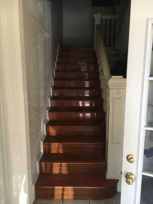 This room is on the second floor and requires climbing a staircase.