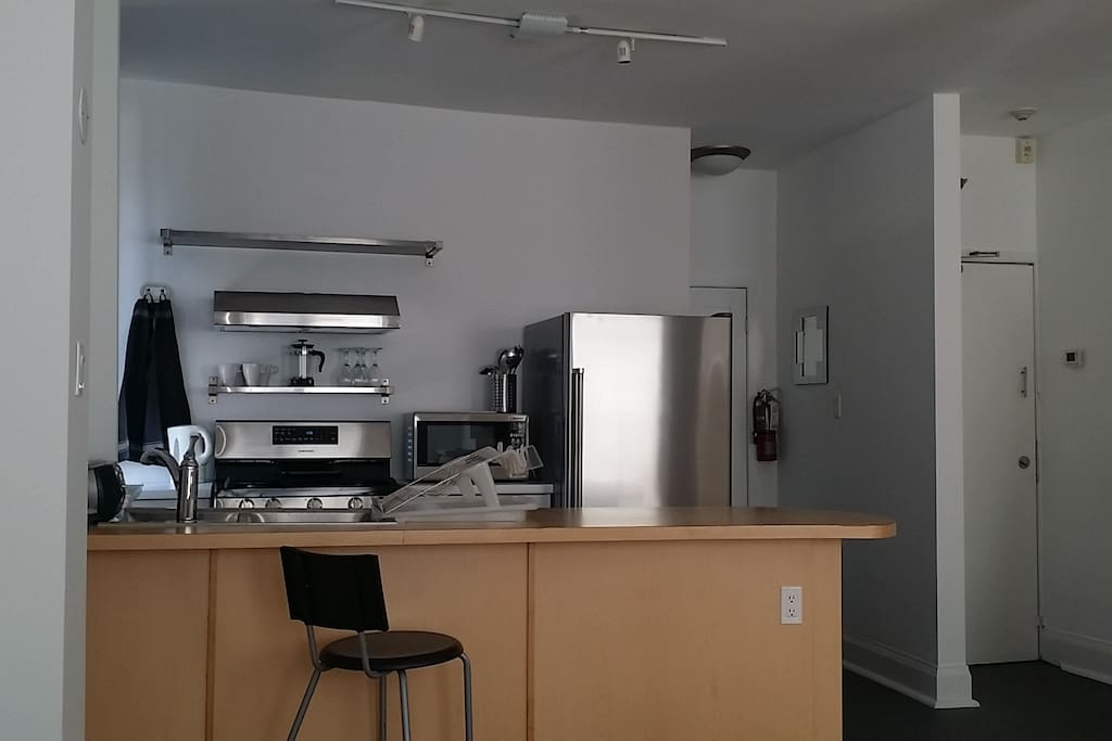 Stainless steel  fridge and gas stove, large double sink and breakfast counter
