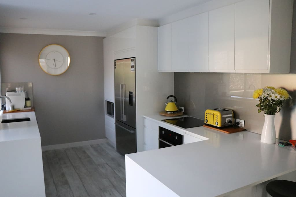 Kitchen with ice/water fridge, induction hotplates, oven