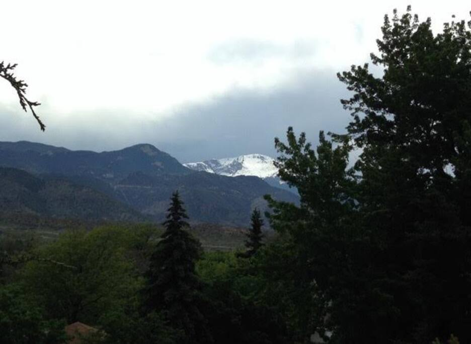Check out the weather over Pikes Peak as you sip your morning coffee