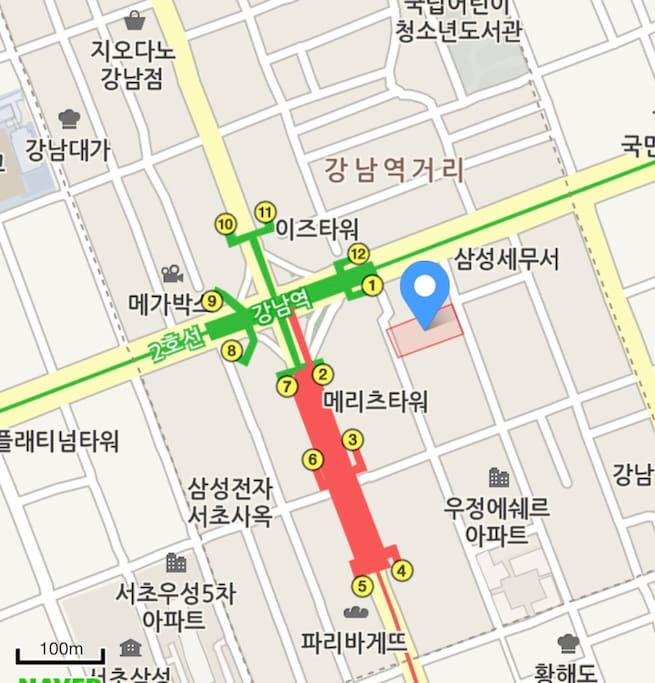 10 Sec to Gangnam subway station exit 1 .  1 min to Airport Bus stop