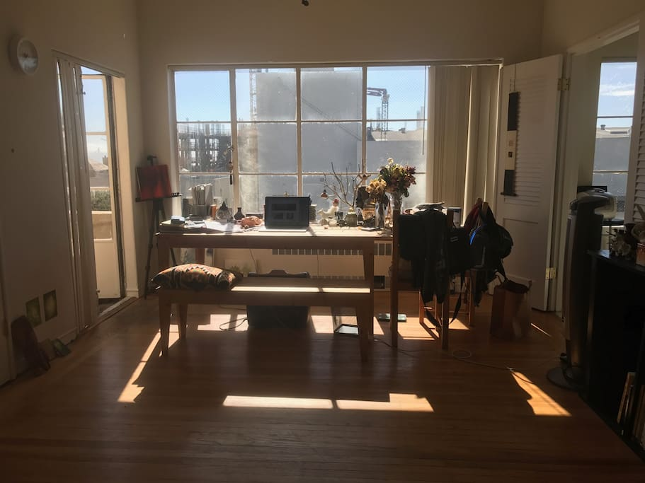 living room with big window and view to SF