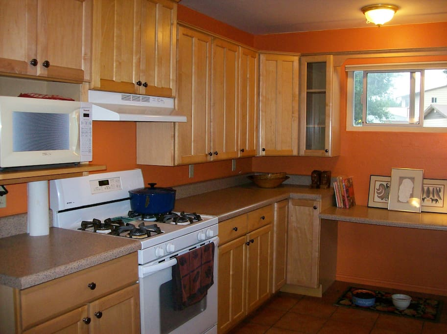 Kitchen has a gas stove