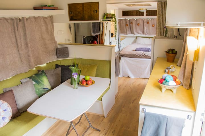 Interior - Banquette table, fully functional kitchen with microwave, fridge etc.