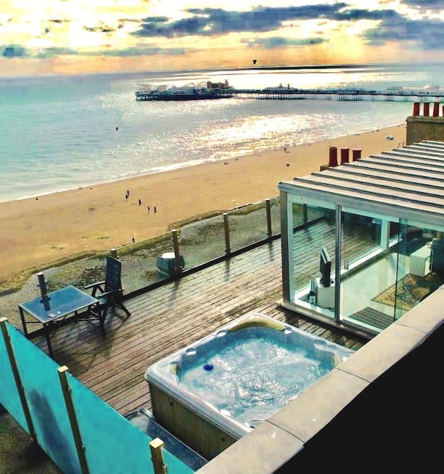 An Airbnb guest kindly took this photograph with a drone. It gives a true sense of the spectacle you will enjoy from the hot tub, the rooftop sitting room and the terrace. Ours is the only frontline property in all of Brighton and Hove with a hot tub. There are no immediate neighbours so you will also enjoy complete privacy. If it's a touch of magic you are looking for you will find it here.