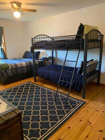 Bedroom #3 queen bed and bunk beds