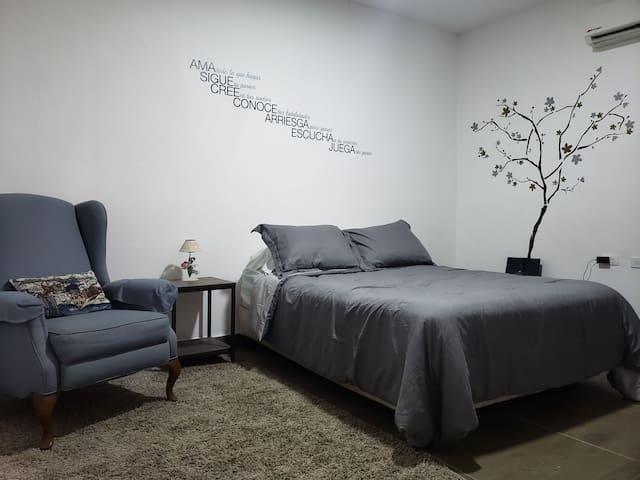 Habitación con cama matrimonial , sofá reclinable, bocina , televisión y closet