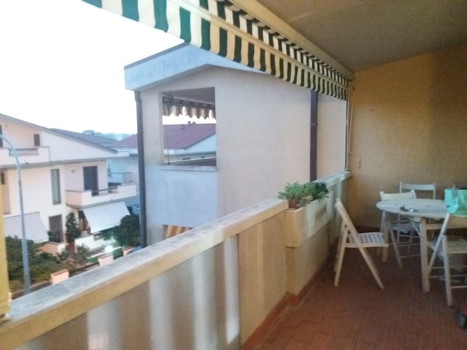 Entrance: a big balcony, table and chiars , relaxing wiev