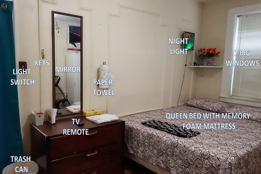 Mirror, Queen Bed, TV Remote, Keys, Towels etc...