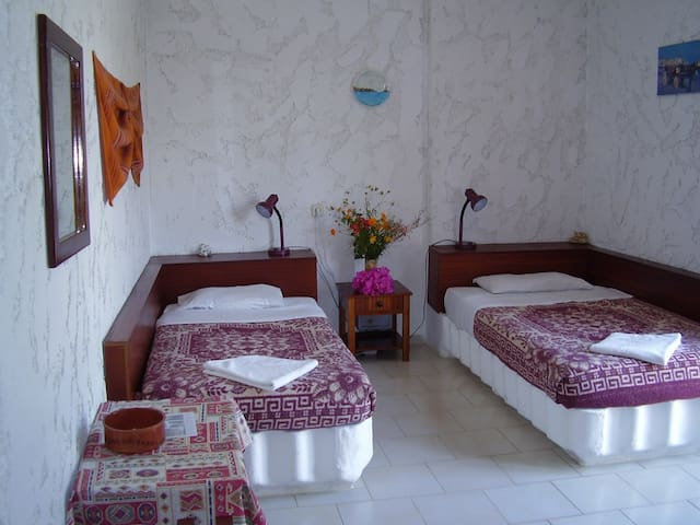 Twin bedded room with private facilities