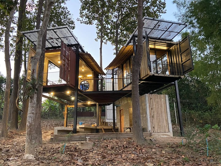 Enjoy nature in a Unique container/bamboo house