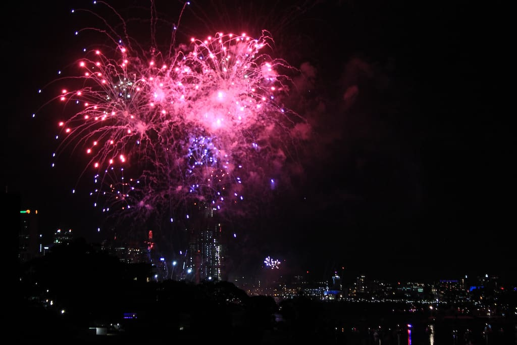 Sydney's  fabulous fireworks from the balcony