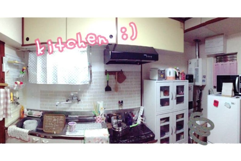Kitchen (refrigerator, freezer, microwave oven, kettle, IH cooking plate, dish, glass etc). Share OK;)