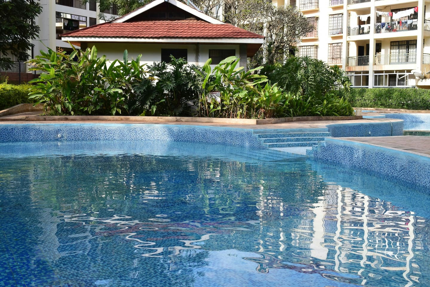 Swimming Pool available to Guests with security on guard especially to check on children during swim time. Clean and accessible change rooms within the swimming pool.