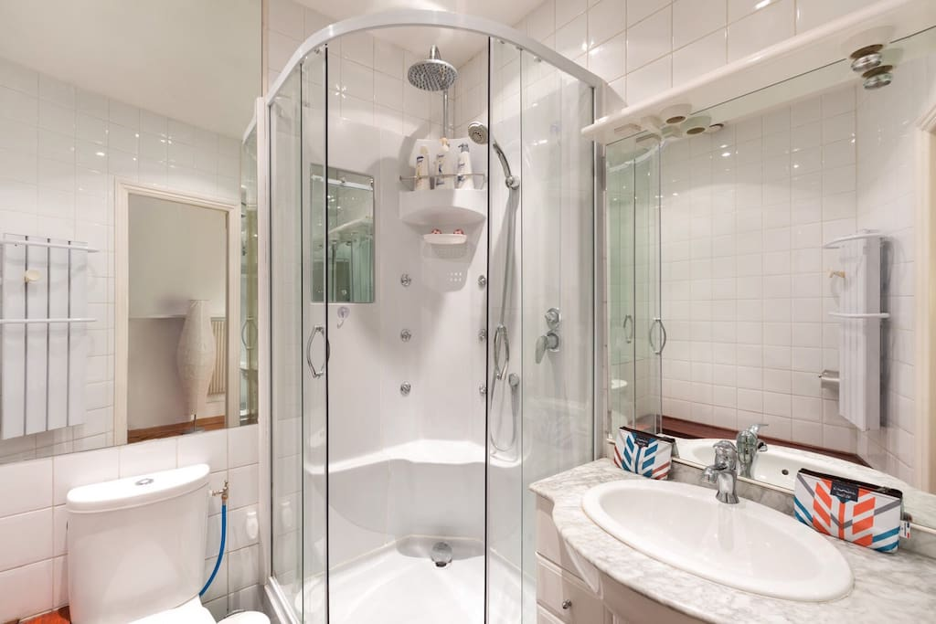 The shower room and The toilet.