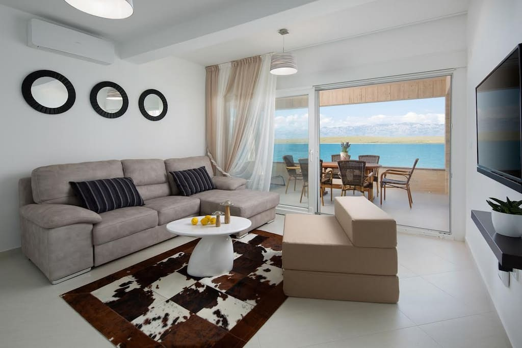 Living room with a sea view
