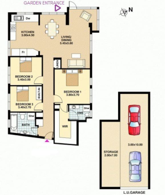"3 bedrooms, secure private garage for 2 cars plus ""stuff""!"