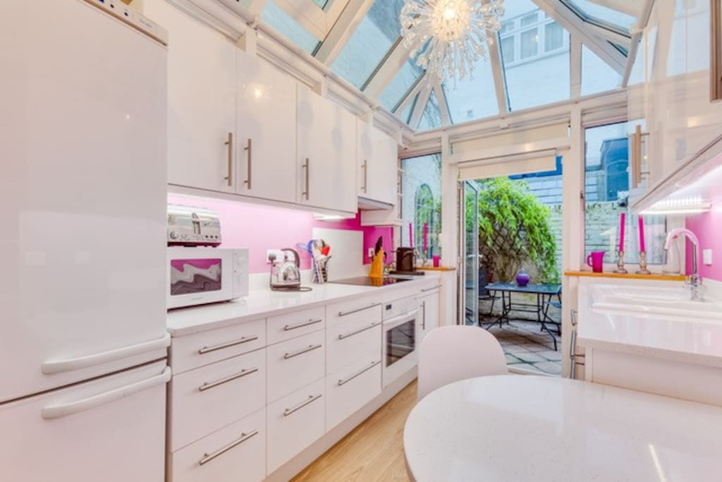 Bright kitchen with patio