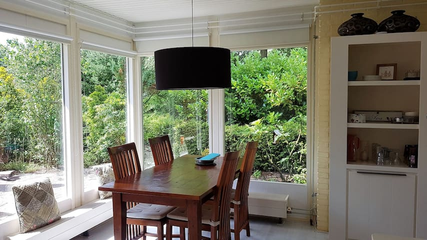 Attractive Holiday Home Het Blauwe Boshuis with Wi-Fi, Terrace & Sauna; Parking Available, Pets Allowed on Request