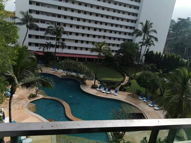 View from other building to show how big is the swimming pool, open space and garden
