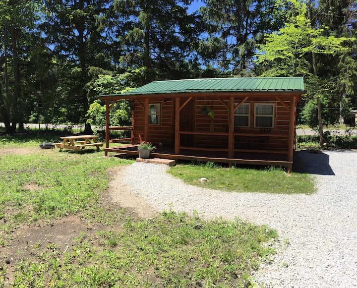 The Driftwood log cabin near Warren Dunes