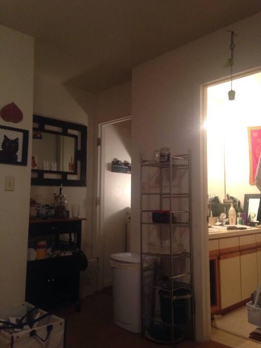 Kitchen and doorway to bathroom