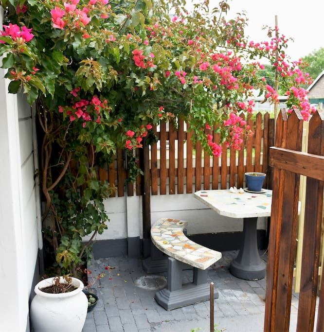 Private outside bench & table