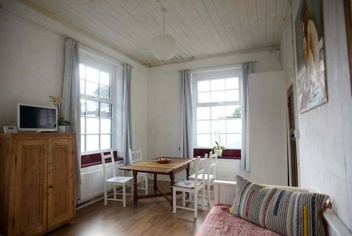 Dining area with large pull-out table in the bed-sitting room