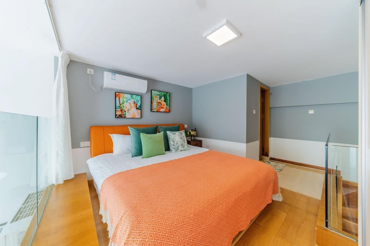 【千·寻】民宿 -万达斜对面&轻奢典雅风&巨幕投影&1.8米舒适大床