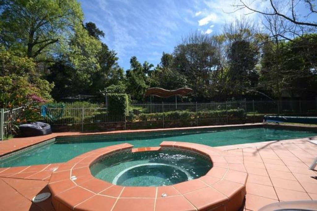 Solar/gas heated pool and spa