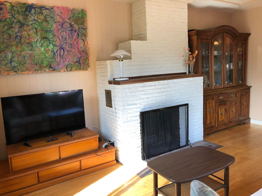 Living Room Fire place and a smart TV